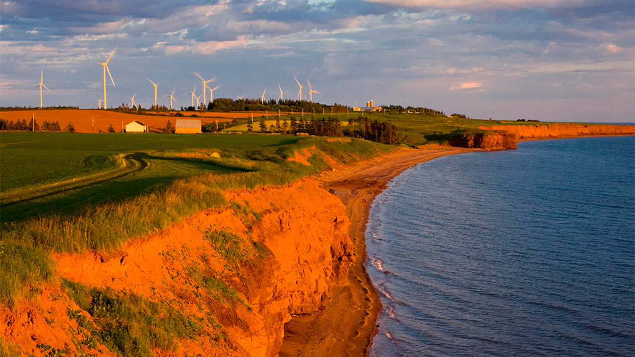 PEI Industry & Sectors, Red Cliffs and Wind Turbines